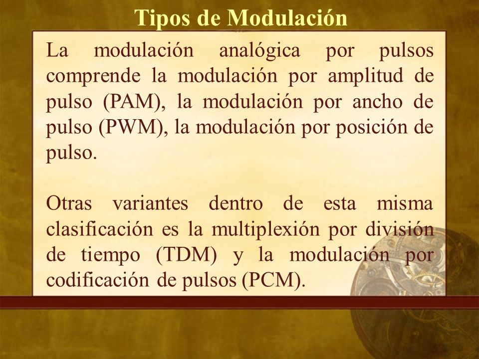 La modulación analógica por pulsos comprende la modulación por amplitud de pulso (PAM), la modulación por ancho de pulso (PWM), la modulación por posición de pulso.