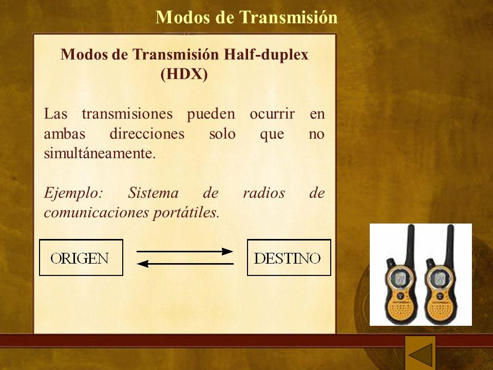 Modos de Transmisión Half-duplex (HDX) Las transmisiones pueden ocurrir en ambas direcciones solo que no simultáneamente.