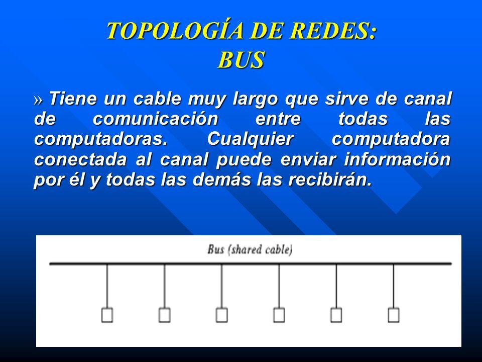 TOPOLOGÍA DE REDES: BUS » Tiene un cable muy largo que sirve de canal de comunicación entre todas las computadoras. Cualquier computadora conectada al