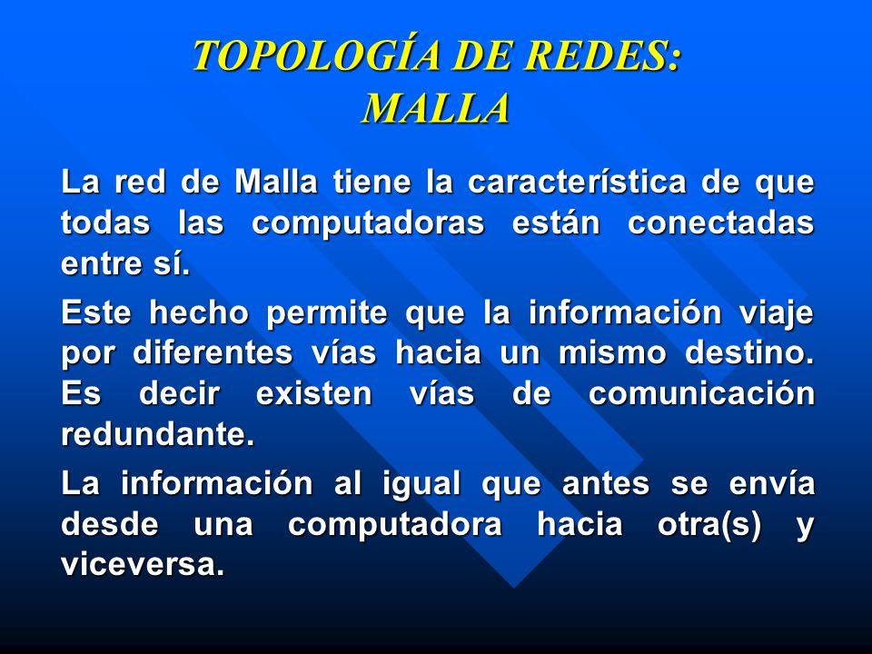 TOPOLOGÍA DE REDES: MALLA La red de Malla tiene la característica de que todas las computadoras están conectadas entre sí. Este hecho permite que la i