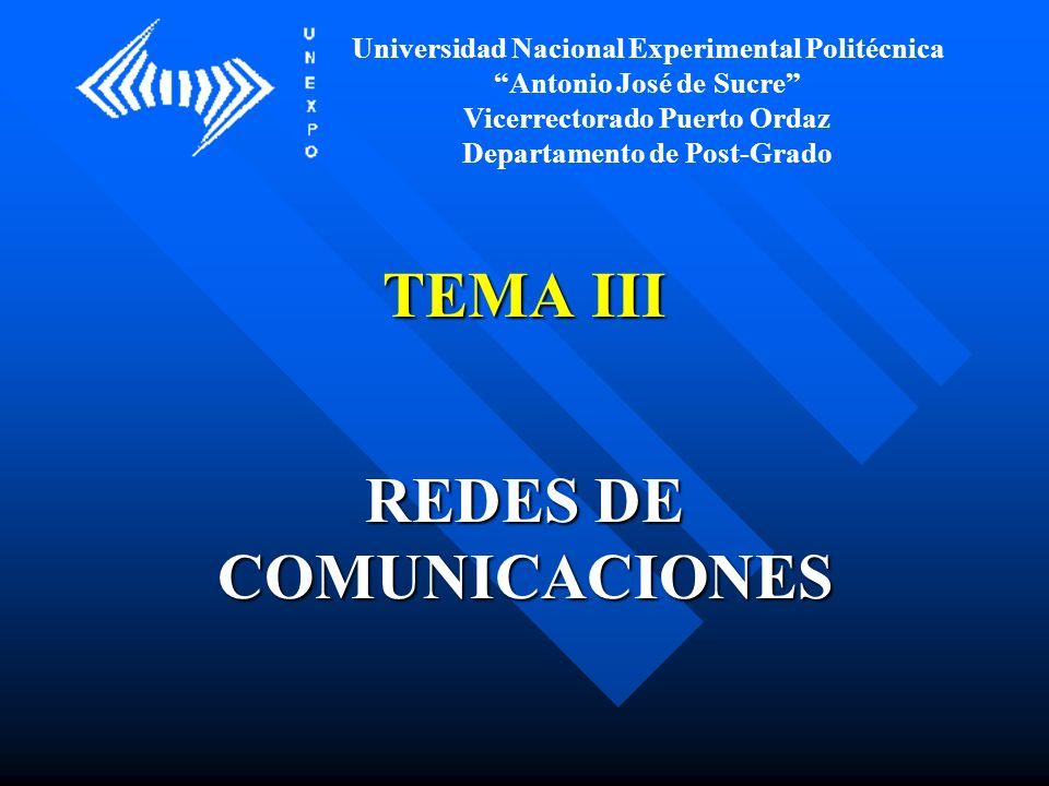 TEMA III REDES DE COMUNICACIONES Universidad Nacional Experimental Politécnica Antonio José de Sucre Vicerrectorado Puerto Ordaz Departamento de Post-