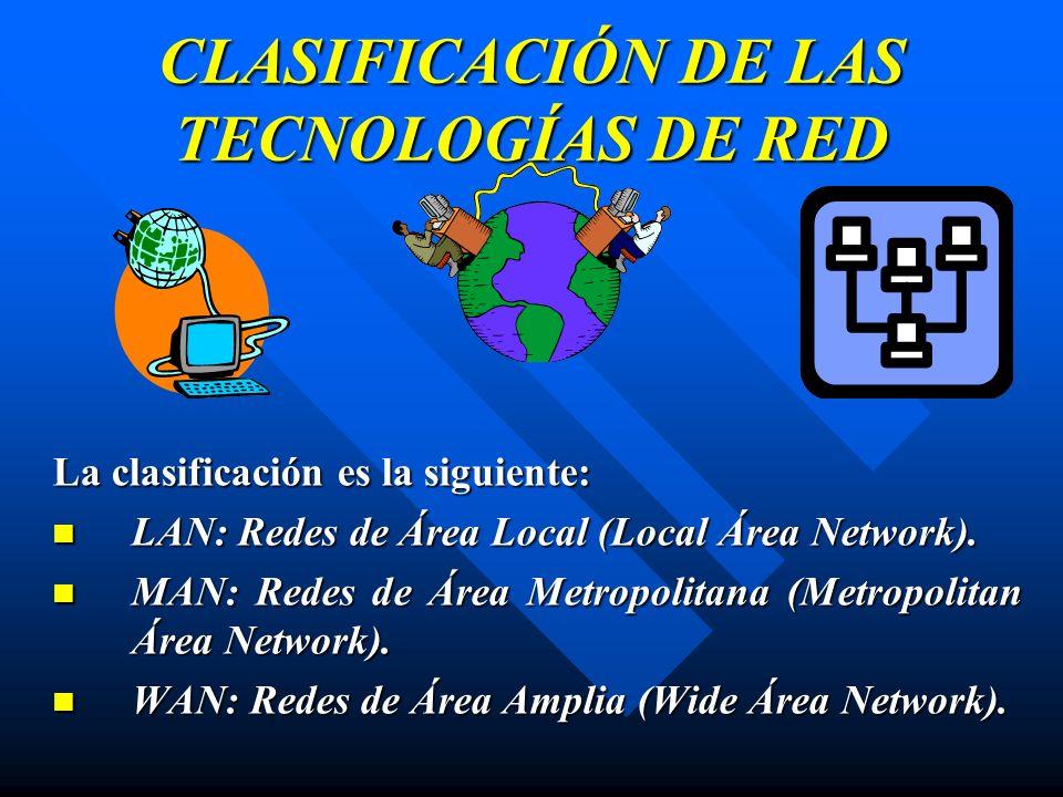 CLASIFICACIÓN DE LAS TECNOLOGÍAS DE RED La clasificación es la siguiente: LAN: Redes de Área Local (Local Área Network). LAN: Redes de Área Local (Loc