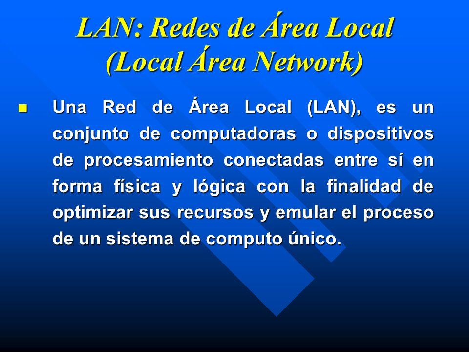 LAN: Redes de Área Local (Local Área Network) Una Red de Área Local (LAN), es un conjunto de computadoras o dispositivos de procesamiento conectadas e