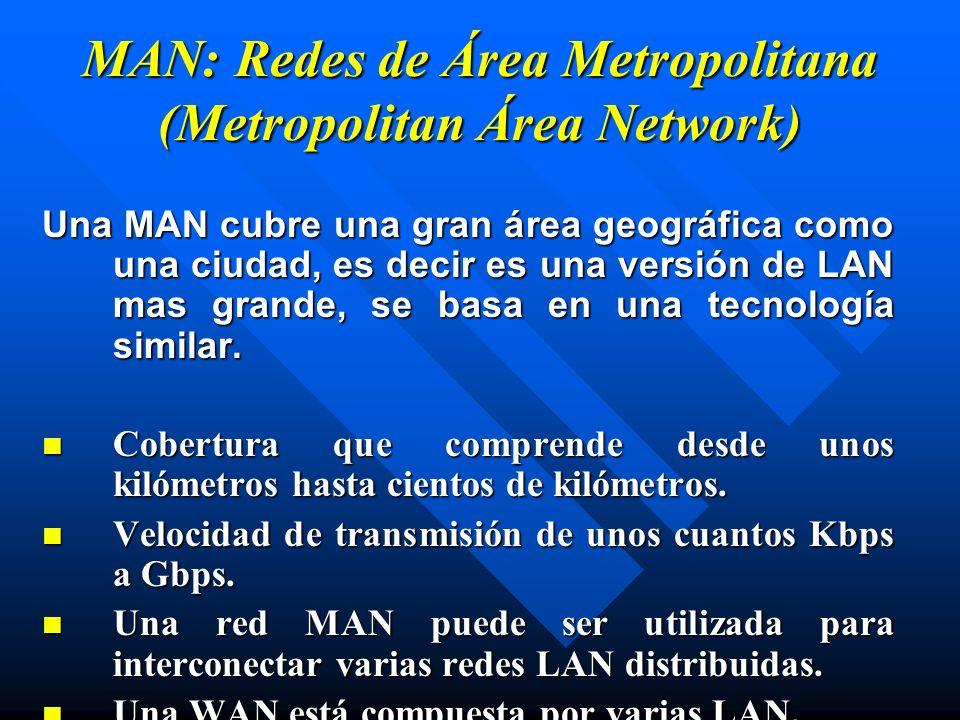 MAN: Redes de Área Metropolitana (Metropolitan Área Network) Una MAN cubre una gran área geográfica como una ciudad, es decir es una versión de LAN ma