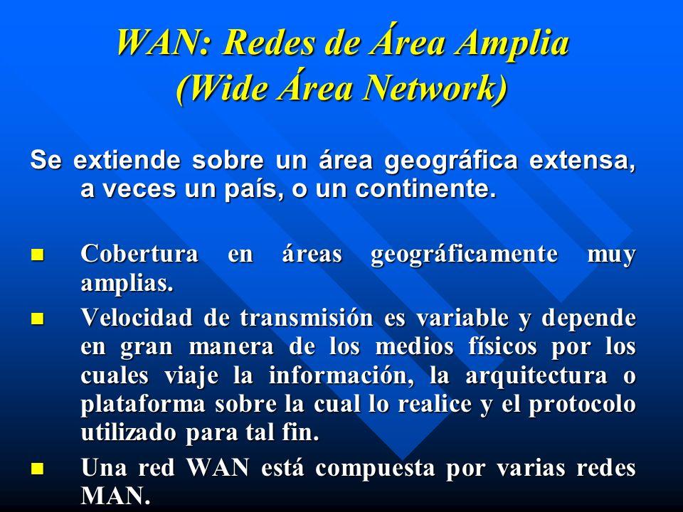 WAN: Redes de Área Amplia (Wide Área Network) Se extiende sobre un área geográfica extensa, a veces un país, o un continente. Cobertura en áreas geogr