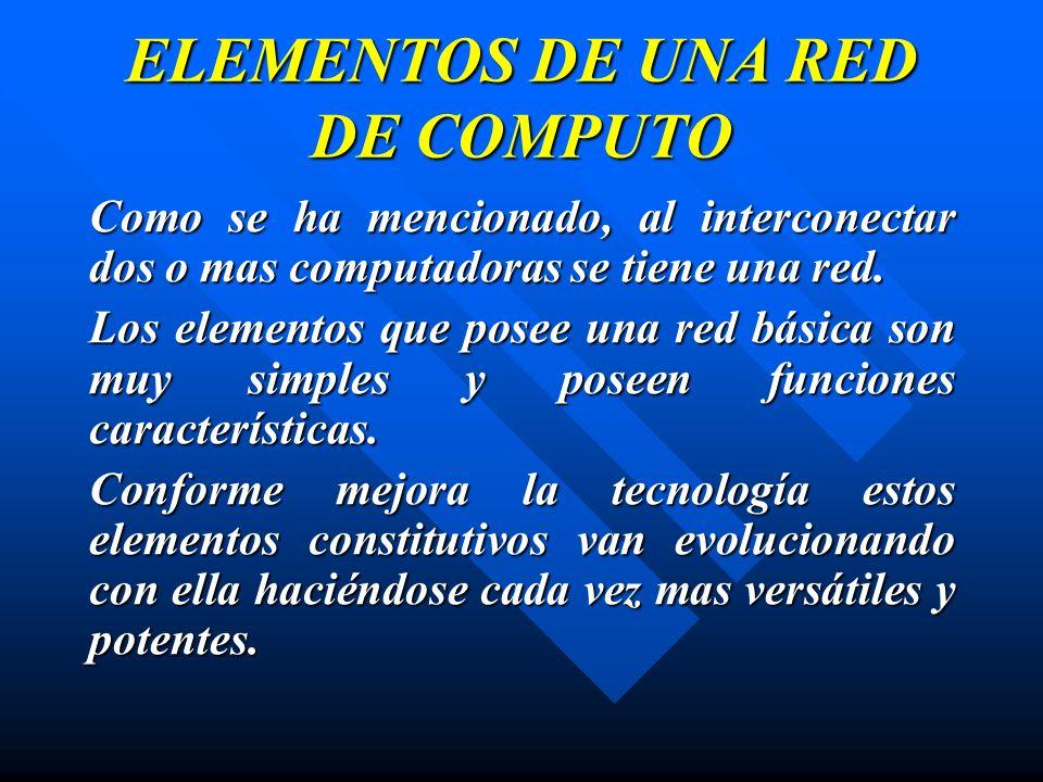 ELEMENTOS DE UNA RED DE COMPUTO Como se ha mencionado, al interconectar dos o mas computadoras se tiene una red. Los elementos que posee una red básic