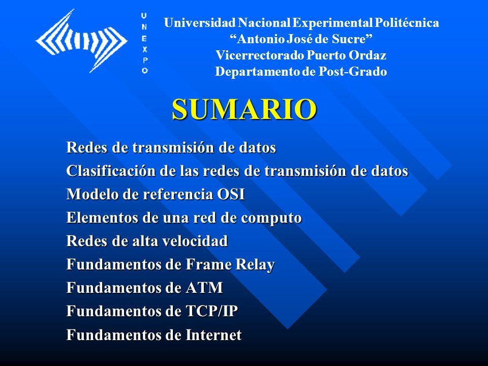 SUMARIO Redes de transmisión de datos Clasificación de las redes de transmisión de datos Modelo de referencia OSI Elementos de una red de computo Rede