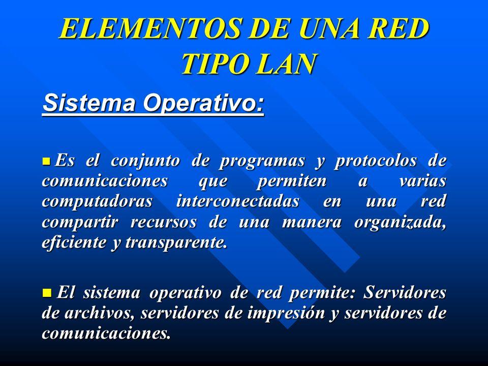 Sistema Operativo: Es el conjunto de programas y protocolos de comunicaciones que permiten a varias computadoras interconectadas en una red compartir