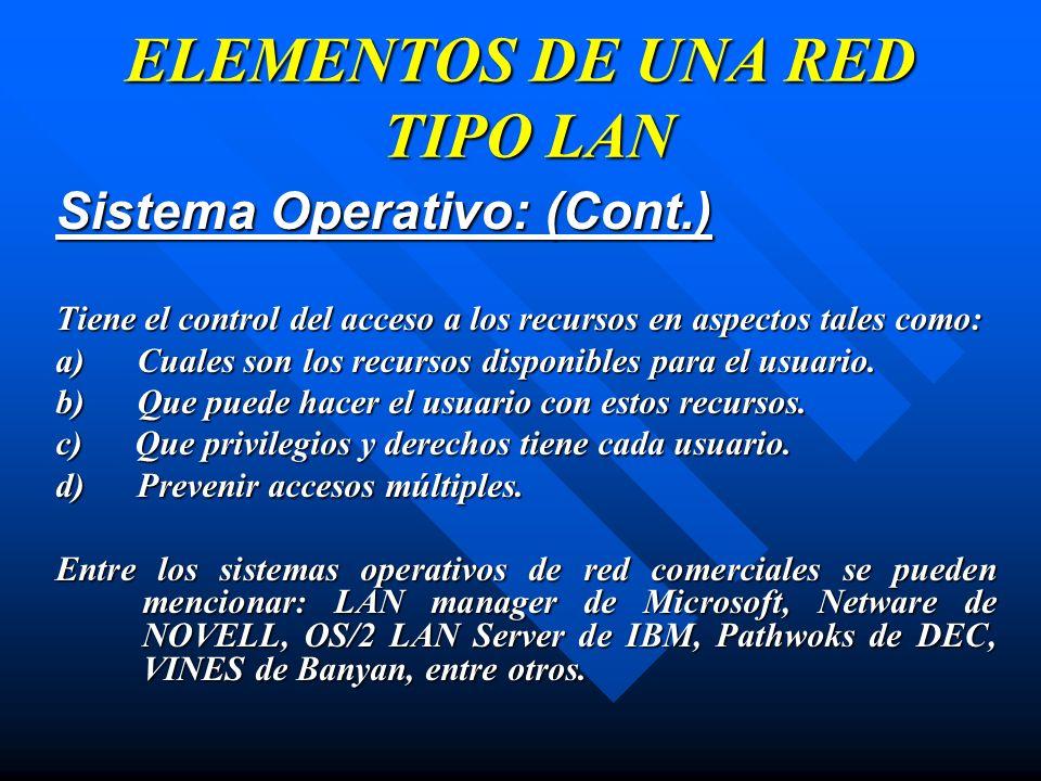 Sistema Operativo: (Cont.) Tiene el control del acceso a los recursos en aspectos tales como: a) Cuales son los recursos disponibles para el usuario.