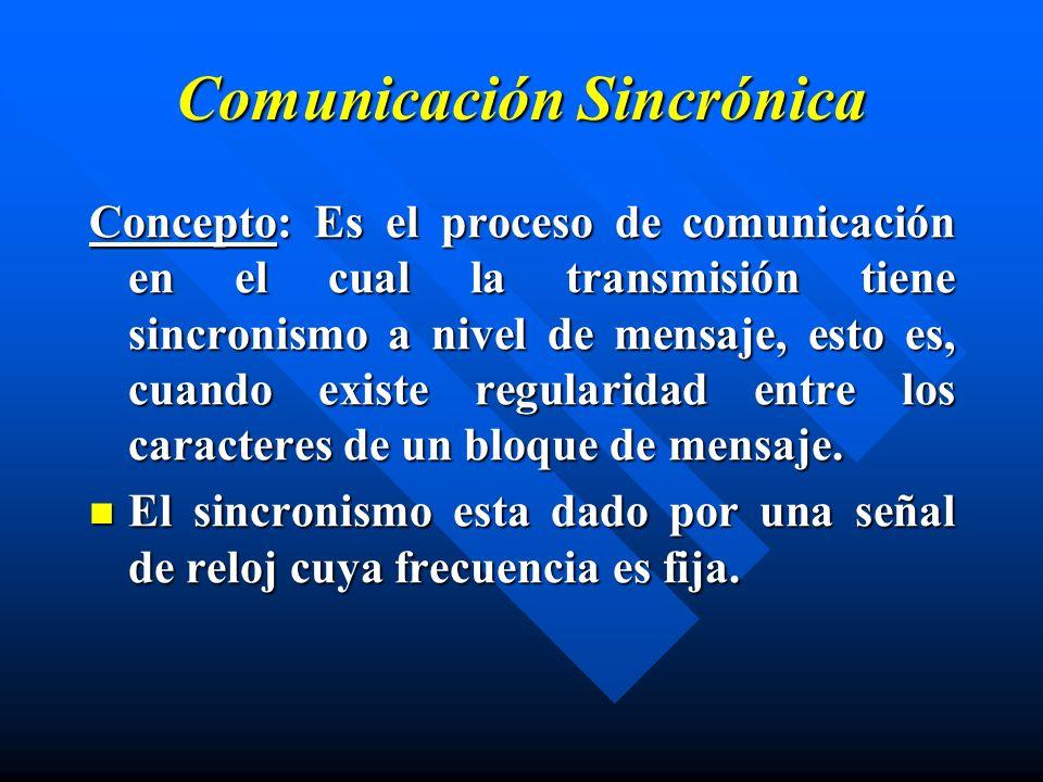 Comunicación Sincrónica Concepto: Es el proceso de comunicación en el cual la transmisión tiene sincronismo a nivel de mensaje, esto es, cuando existe