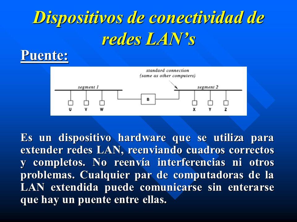 Dispositivos de conectividad de redes LANs Puente: Es un dispositivo hardware que se utiliza para extender redes LAN, reenviando cuadros correctos y c
