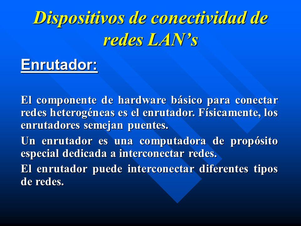 Dispositivos de conectividad de redes LANs Enrutador: El componente de hardware básico para conectar redes heterogéneas es el enrutador. Físicamente,