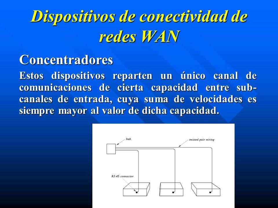 Concentradores Estos dispositivos reparten un único canal de comunicaciones de cierta capacidad entre sub- canales de entrada, cuya suma de velocidade