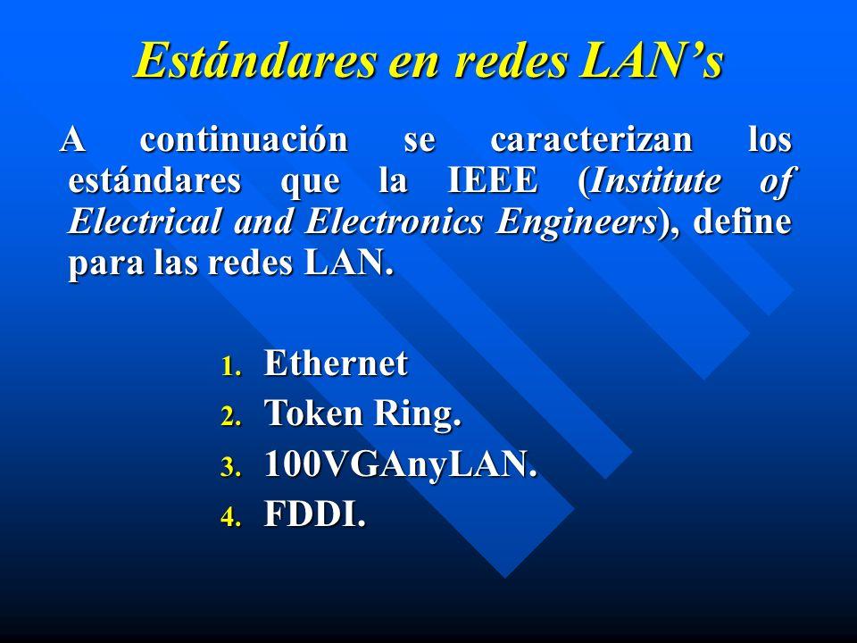 Estándares en redes LANs A continuación se caracterizan los estándares que la IEEE (Institute of Electrical and Electronics Engineers), define para la