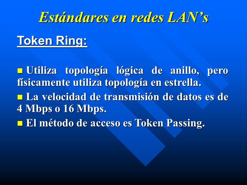 Estándares en redes LANs Token Ring: Utiliza topología lógica de anillo, pero físicamente utiliza topología en estrella. Utiliza topología lógica de a
