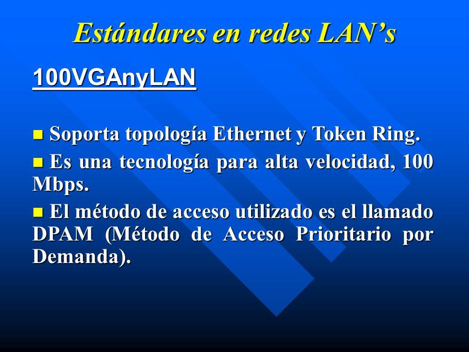 Estándares en redes LANs 100VGAnyLAN Soporta topología Ethernet y Token Ring. Soporta topología Ethernet y Token Ring. Es una tecnología para alta vel