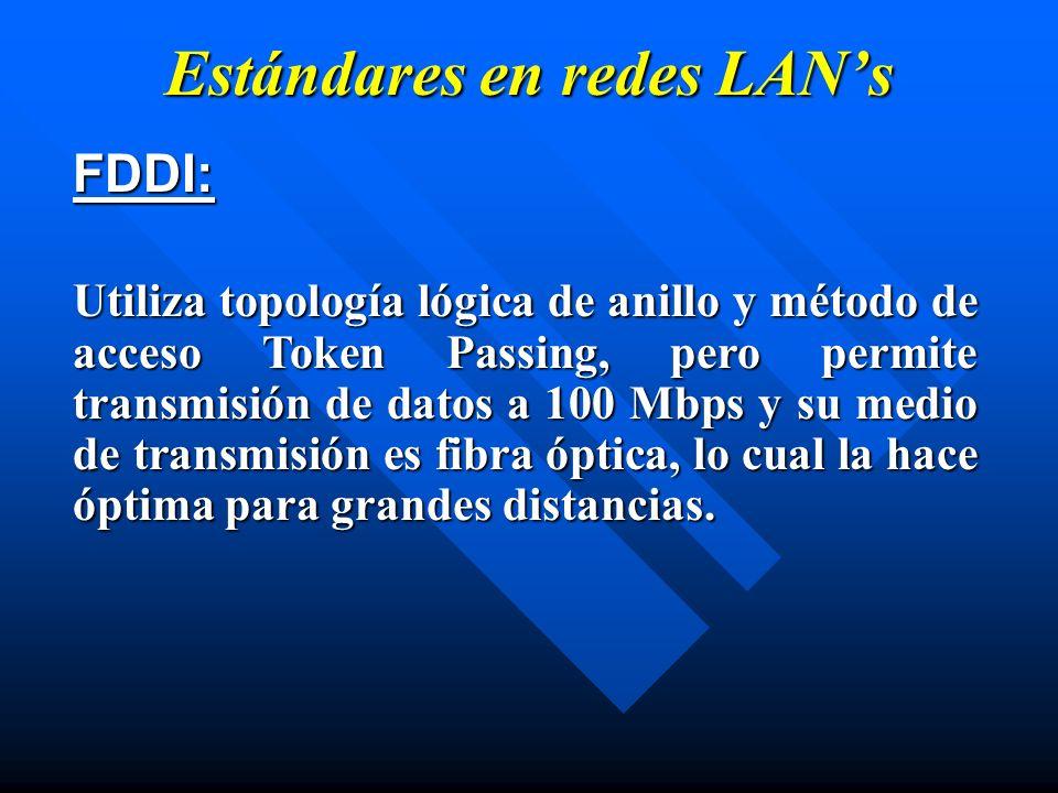 Estándares en redes LANs FDDI: Utiliza topología lógica de anillo y método de acceso Token Passing, pero permite transmisión de datos a 100 Mbps y su