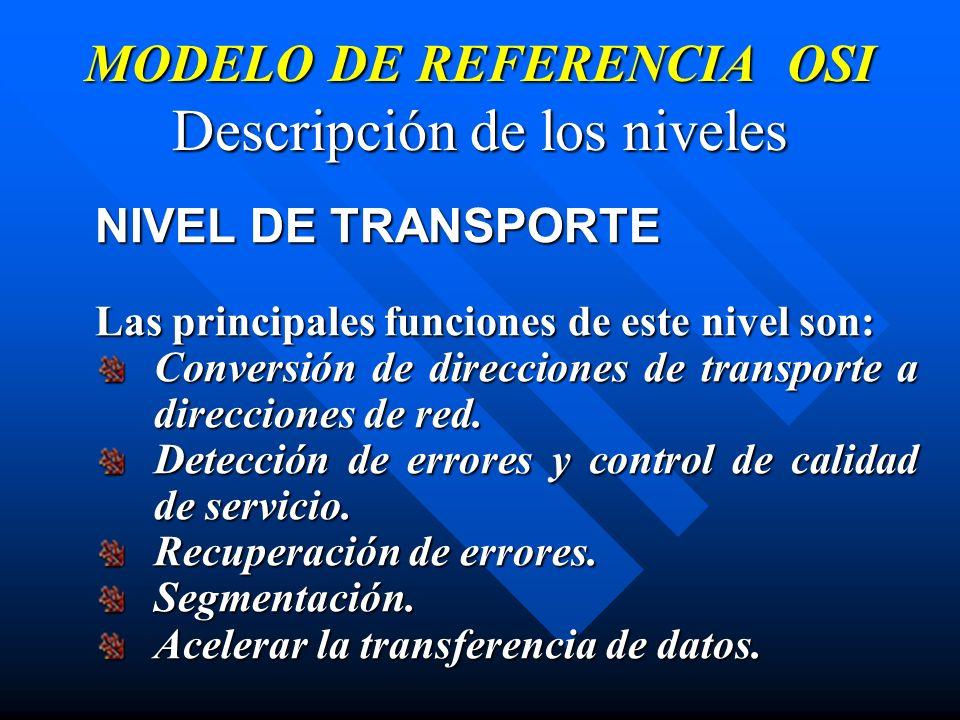 MODELO DE REFERENCIA OSI Descripción de los niveles NIVEL DE TRANSPORTE Las principales funciones de este nivel son: Conversión de direcciones de tran