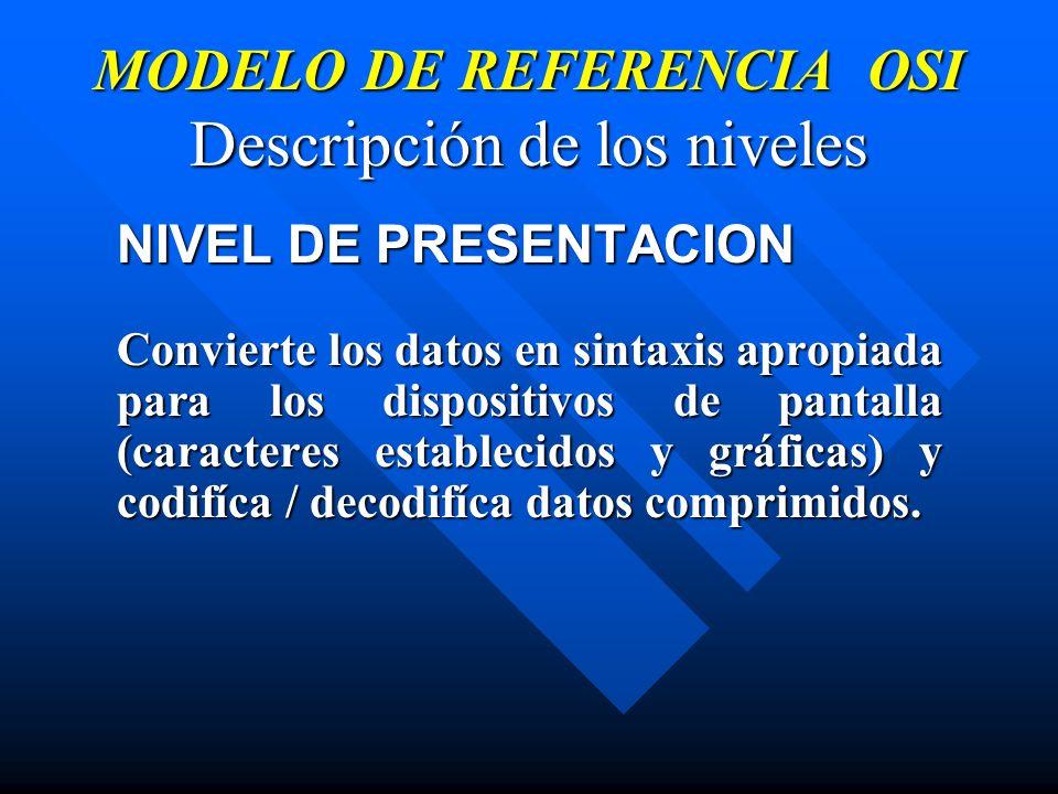 MODELO DE REFERENCIA OSI Descripción de los niveles NIVEL DE PRESENTACION Convierte los datos en sintaxis apropiada para los dispositivos de pantalla