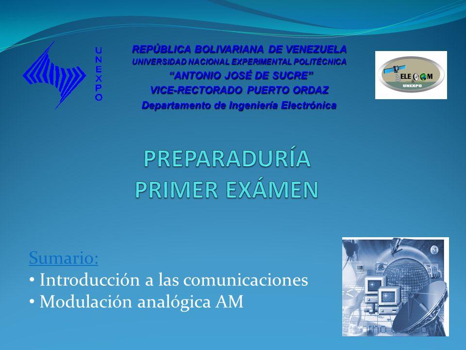 Sumario: Introducción a las comunicaciones Modulación analógica AM REPÚBLICA BOLIVARIANA DE VENEZUELA UNIVERSIDAD NACIONAL EXPERIMENTAL POLITÉCNICA AN