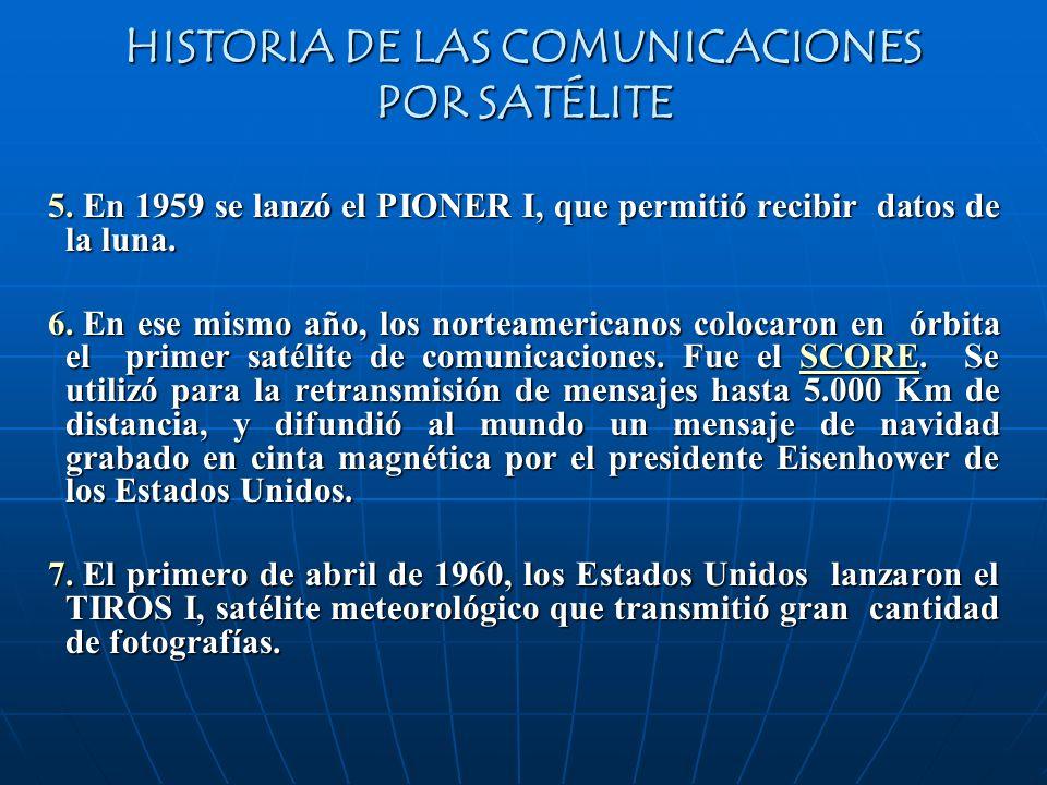 5. En 1959 se lanzó el PIONER I, que permitió recibir datos de la luna. 6. En ese mismo año, los norteamericanos colocaron en órbita el primer satélit