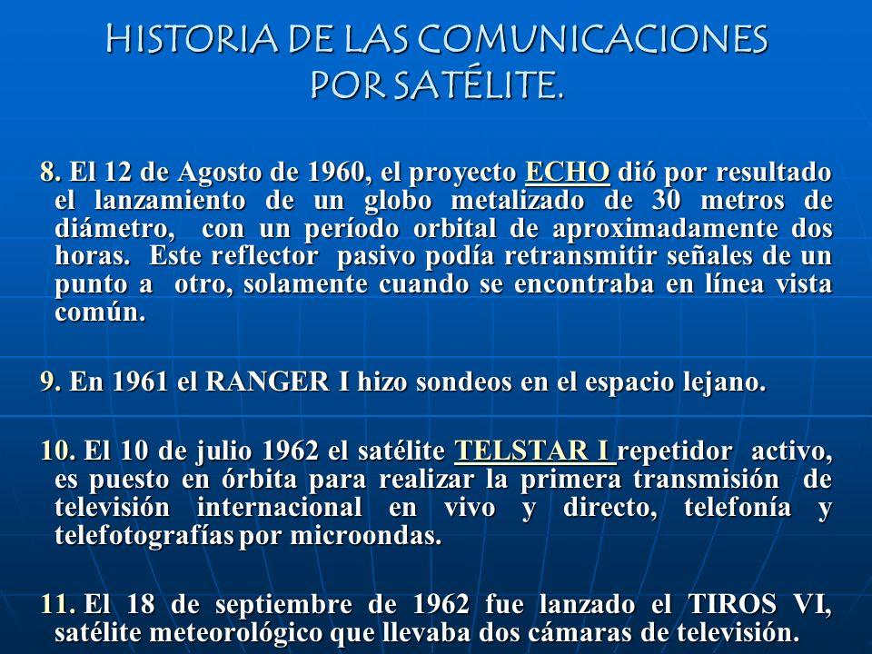 HISTORIA DE LAS COMUNICACIONES POR SATÉLITE. 8. El 12 de Agosto de 1960, el proyecto ECHO dió por resultado el lanzamiento de un globo metalizado de 3