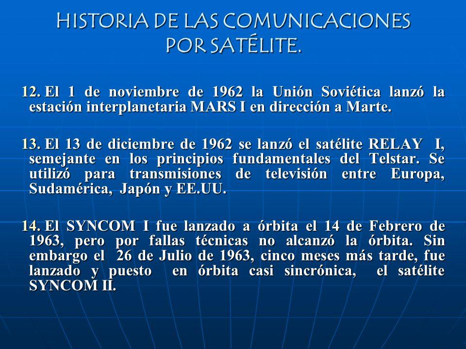 HISTORIA DE LAS COMUNICACIONES POR SATÉLITE. 12. El 1 de noviembre de 1962 la Unión Soviética lanzó la estación interplanetaria MARS I en dirección a
