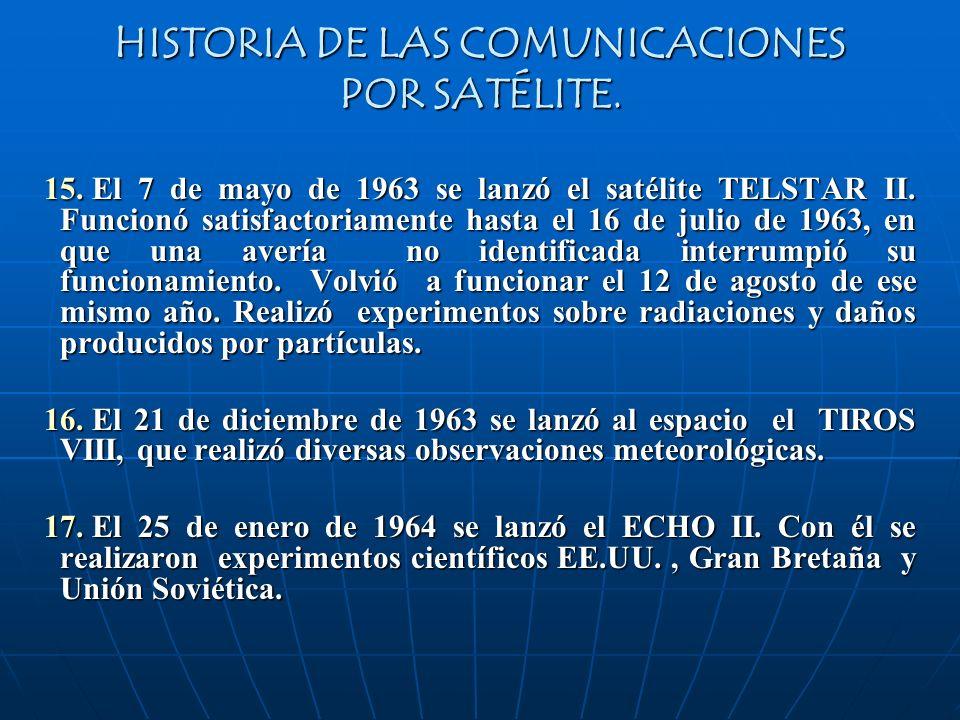 HISTORIA DE LAS COMUNICACIONES POR SATÉLITE. 15. El 7 de mayo de 1963 se lanzó el satélite TELSTAR II. Funcionó satisfactoriamente hasta el 16 de juli