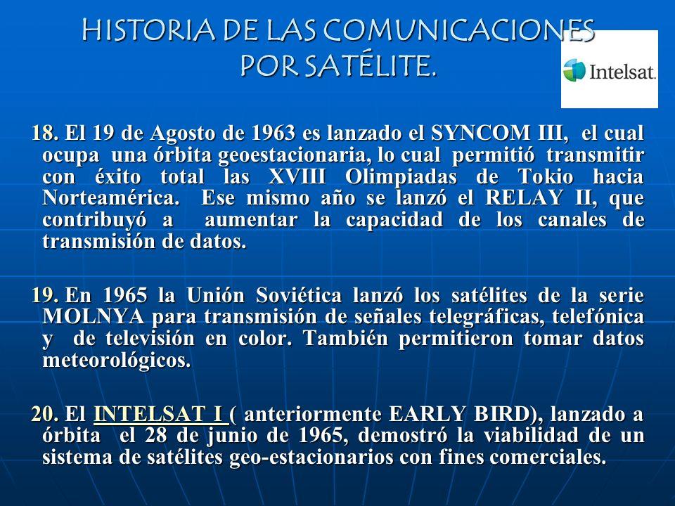 HISTORIA DE LAS COMUNICACIONES POR SATÉLITE. 18. El 19 de Agosto de 1963 es lanzado el SYNCOM III, el cual ocupa una órbita geoestacionaria, lo cual p