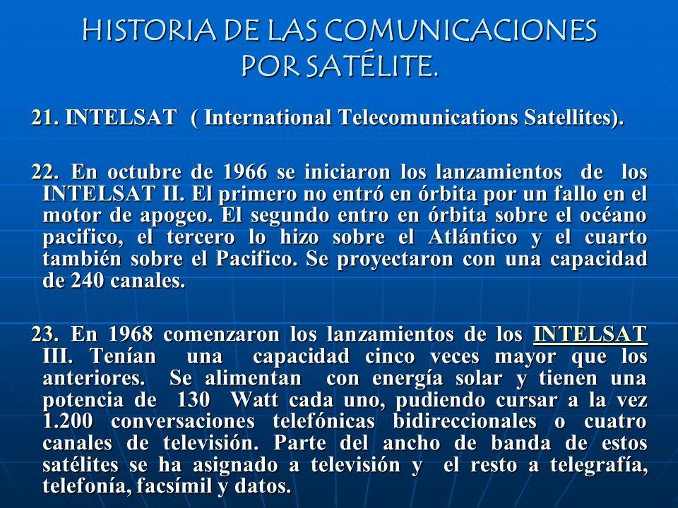 HISTORIA DE LAS COMUNICACIONES POR SATÉLITE. 21. INTELSAT ( International Telecomunications Satellites). 22. En octubre de 1966 se iniciaron los lanza
