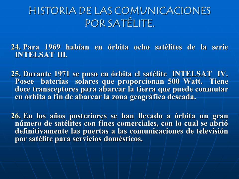 HISTORIA DE LAS COMUNICACIONES POR SATÉLITE. 24. Para 1969 habían en órbita ocho satélites de la serie INTELSAT III. 25. Durante 1971 se puso en órbit