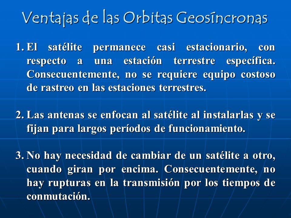 1.El satélite permanece casi estacionario, con respecto a una estación terrestre específica. Consecuentemente, no se requiere equipo costoso de rastre