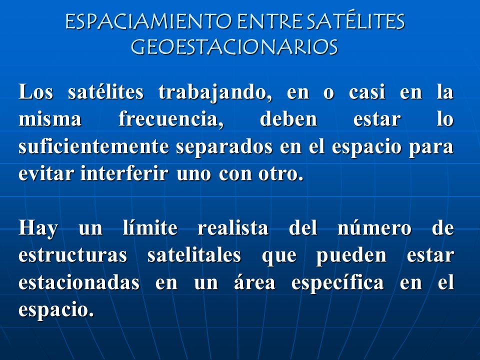 ESPACIAMIENTO ENTRE SATÉLITES GEOESTACIONARIOS Los satélites trabajando, en o casi en la misma frecuencia, deben estar lo suficientemente separados en