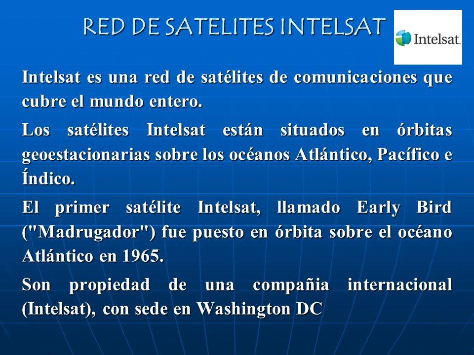 RED DE SATELITES INTELSAT Intelsat es una red de satélites de comunicaciones que cubre el mundo entero. Los satélites Intelsat están situados en órbit