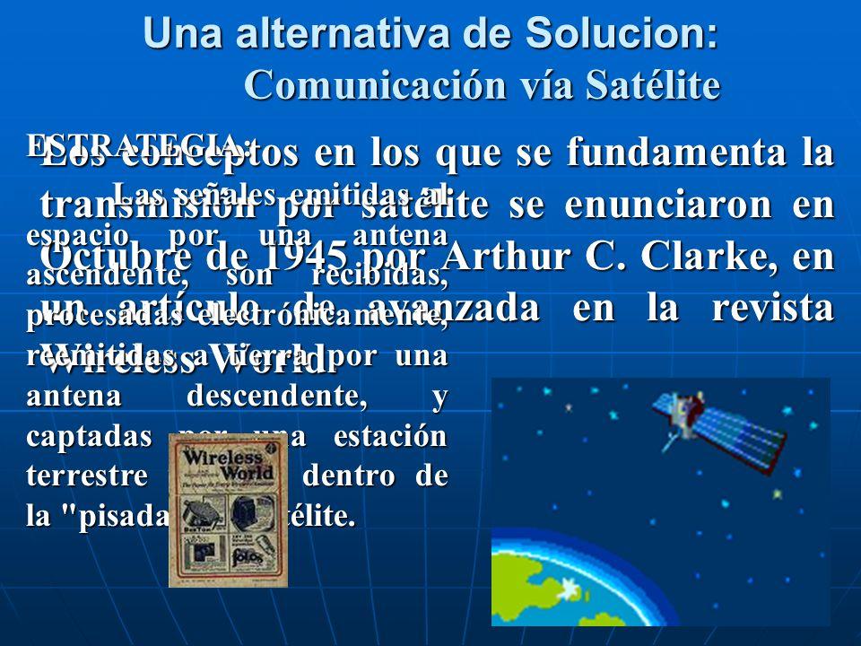 Una alternativa de Solucion: Comunicación vía Satélite Los conceptos en los que se fundamenta la transmisión por satélite se enunciaron en Octubre de