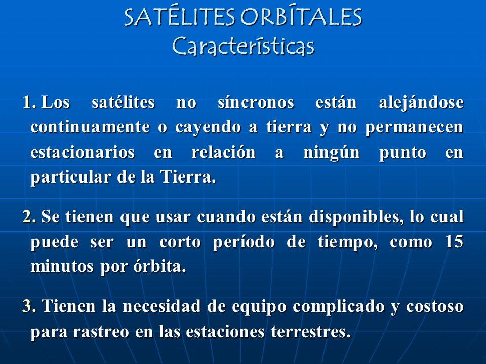 SATÉLITES ORBÍTALES Características 1. Los satélites no síncronos están alejándose continuamente o cayendo a tierra y no permanecen estacionarios en r