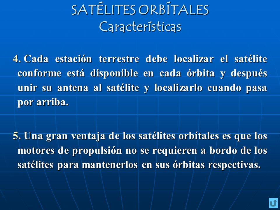 4. Cada estación terrestre debe localizar el satélite conforme está disponible en cada órbita y después unir su antena al satélite y localizarlo cuand