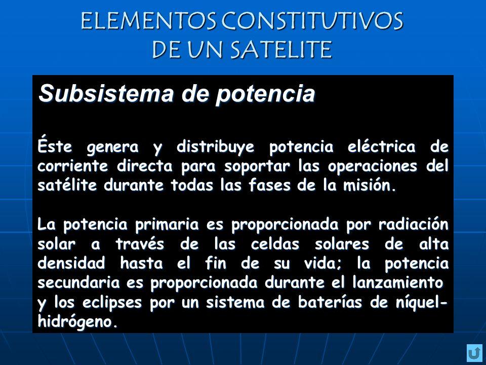 ELEMENTOS CONSTITUTIVOS DE UN SATELITE Subsistema de potencia Éste genera y distribuye potencia eléctrica de corriente directa para soportar las opera