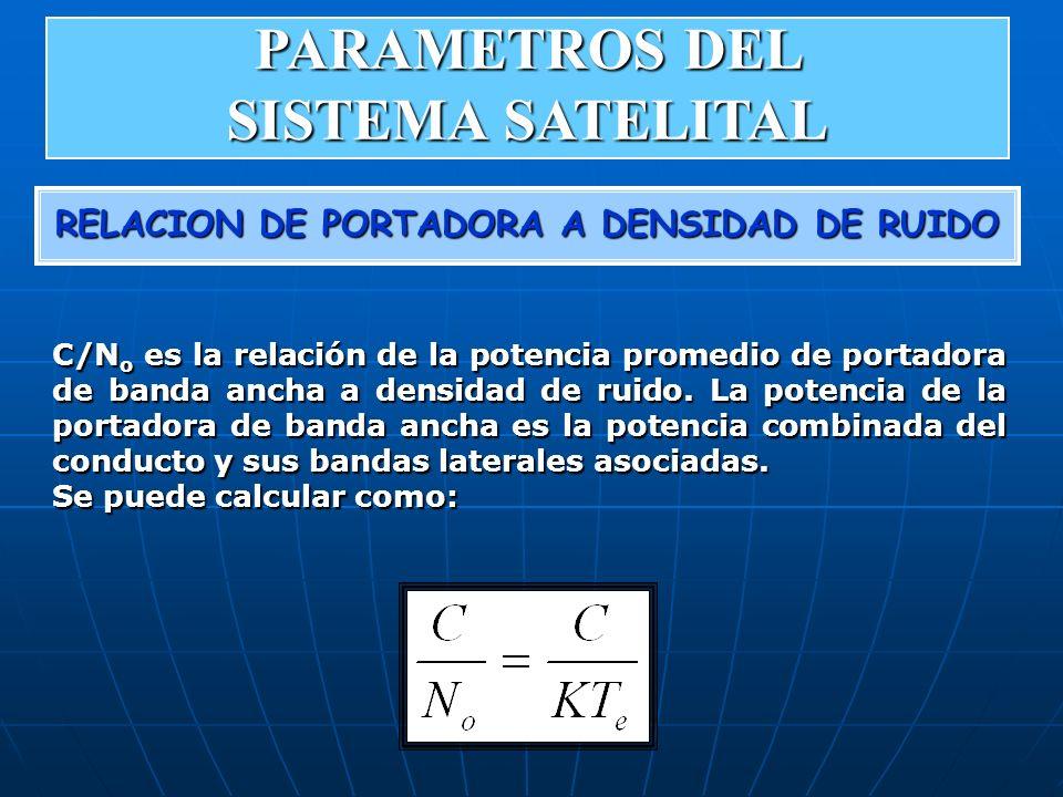 RELACION DE PORTADORA A DENSIDAD DE RUIDO C/N o es la relación de la potencia promedio de portadora de banda ancha a densidad de ruido. La potencia de