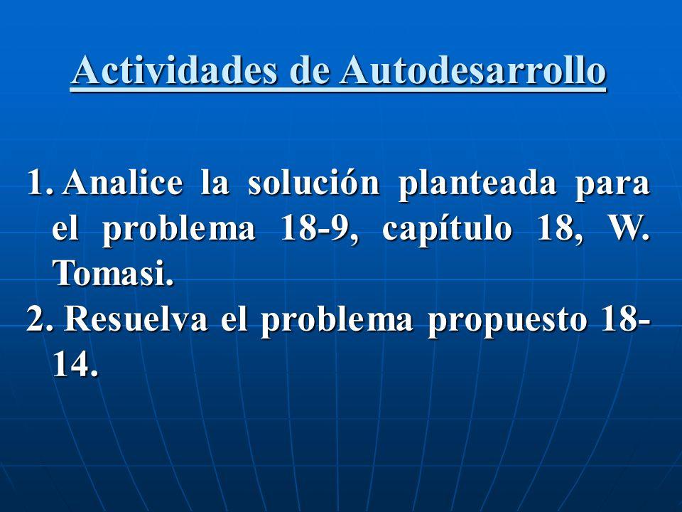 1. Analice la solución planteada para el problema 18-9, capítulo 18, W. Tomasi. 2. Resuelva el problema propuesto 18- 14. Actividades de Autodesarroll
