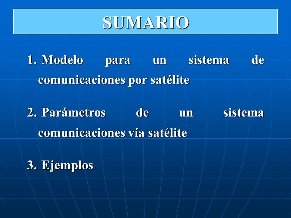 1. Modelo para un sistema de comunicaciones por satélite 2. Parámetros de un sistema comunicaciones vía satélite 3. Ejemplos SUMARIO