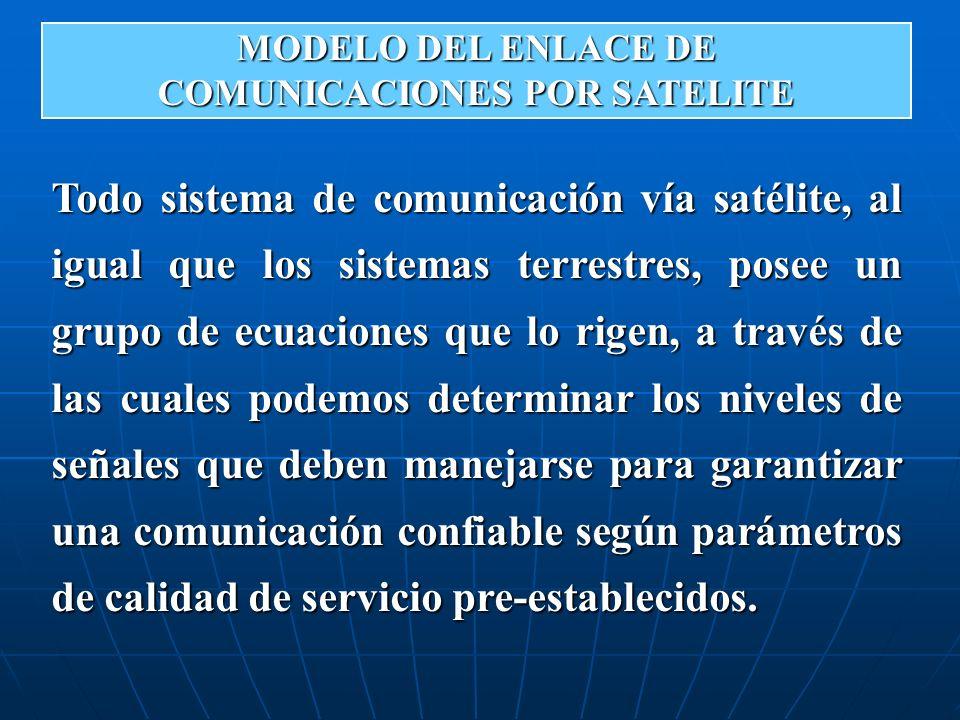 Todo sistema de comunicación vía satélite, al igual que los sistemas terrestres, posee un grupo de ecuaciones que lo rigen, a través de las cuales pod