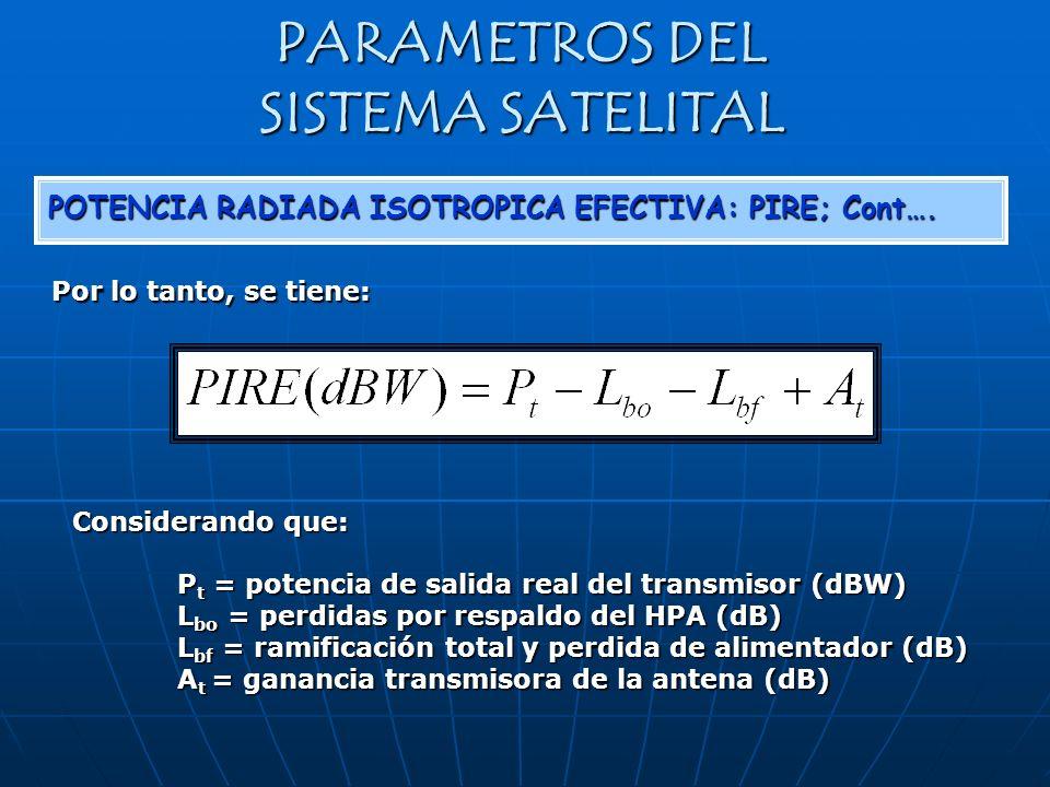 PARAMETROS DEL SISTEMA SATELITAL POTENCIA RADIADA ISOTROPICA EFECTIVA: PIRE; Cont…. Por lo tanto, se tiene: Considerando que: P t = potencia de salida