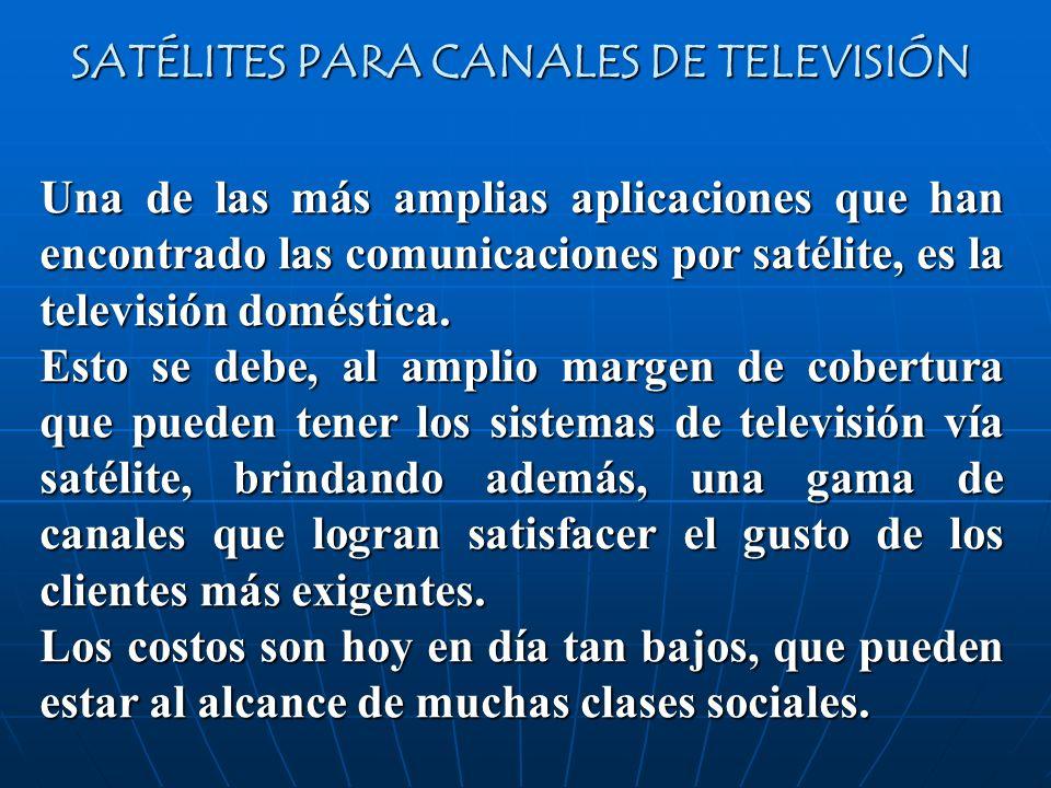 Una de las más amplias aplicaciones que han encontrado las comunicaciones por satélite, es la televisión doméstica. Esto se debe, al amplio margen de