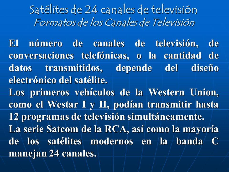 El número de canales de televisión, de conversaciones telefónicas, o la cantidad de datos transmitidos, depende del diseño electrónico del satélite. L