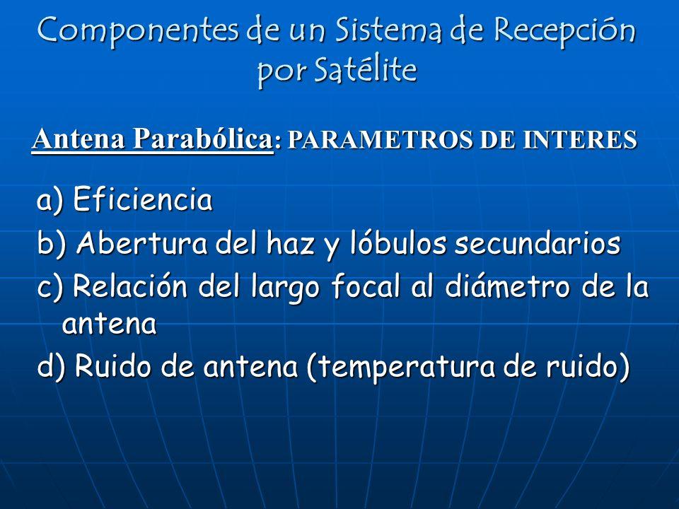 Antena Parabólica : PARAMETROS DE INTERES Componentes de un Sistema de Recepción por Satélite a) Eficiencia b) Abertura del haz y lóbulos secundarios