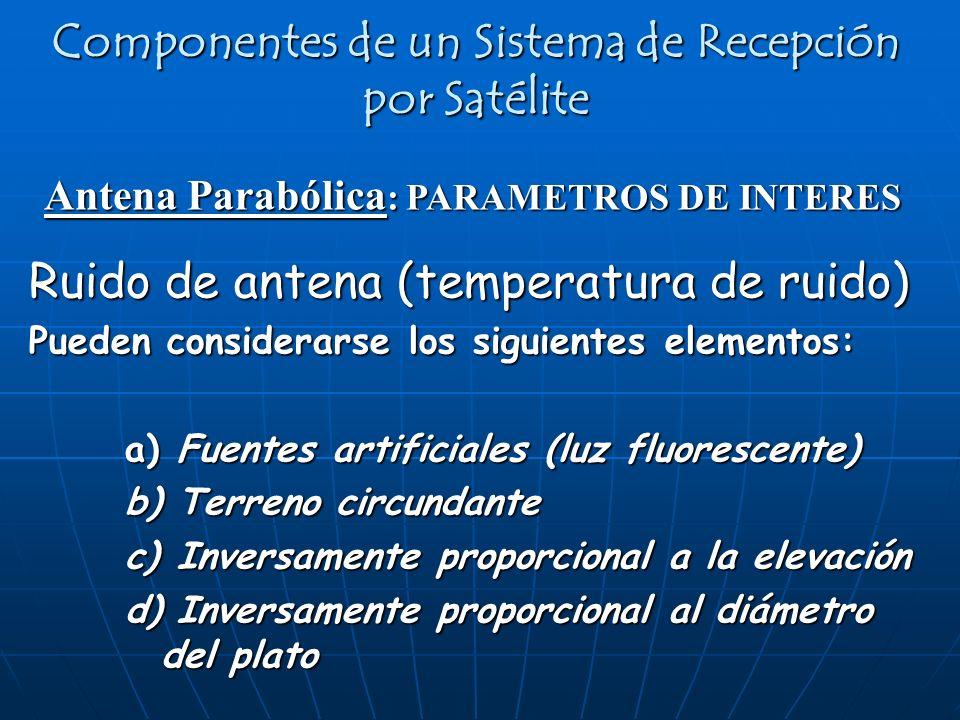 Antena Parabólica : PARAMETROS DE INTERES Componentes de un Sistema de Recepción por Satélite Ruido de antena (temperatura de ruido) Pueden considerar
