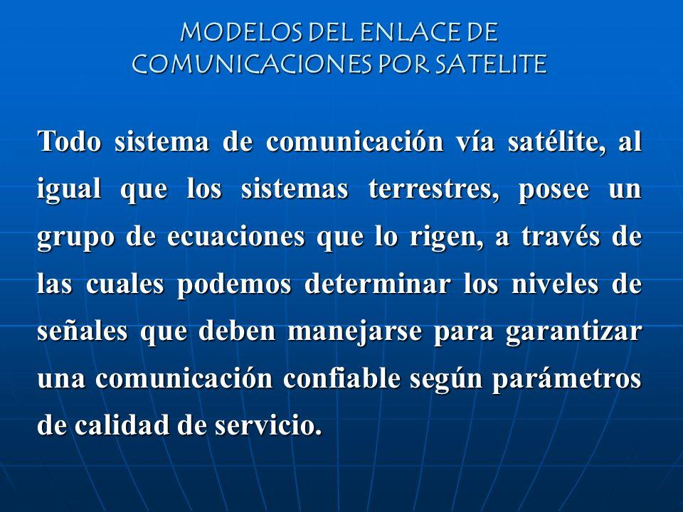 MODELOS DEL ENLACE DE COMUNICACIONES POR SATELITE Todo sistema de comunicación vía satélite, al igual que los sistemas terrestres, posee un grupo de e