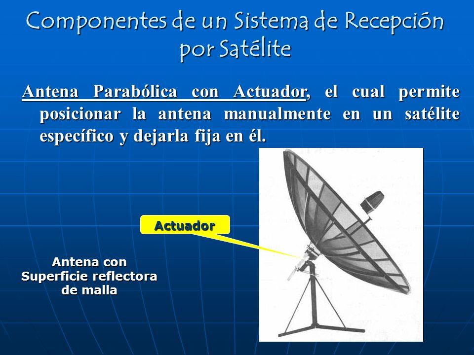 Antena Parabólica con Actuador, el cual permite posicionar la antena manualmente en un satélite específico y dejarla fija en él. Antena con Superficie