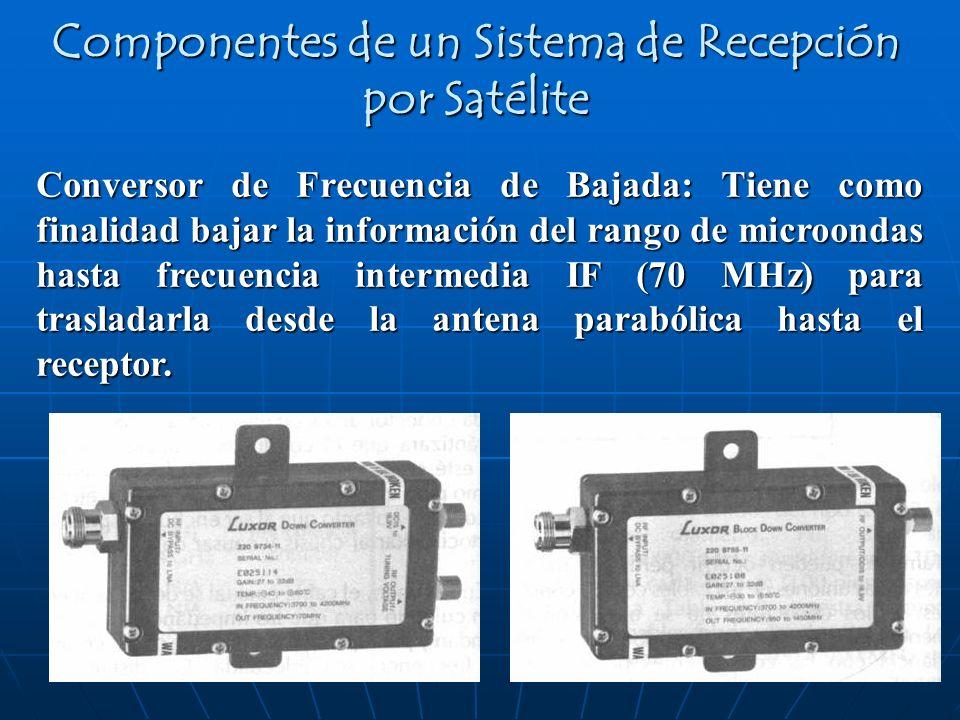 Conversor de Frecuencia de Bajada: Tiene como finalidad bajar la información del rango de microondas hasta frecuencia intermedia IF (70 MHz) para tras